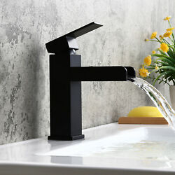 Modern Waterfall Bathroom Sink Faucet 1 Hole Single Handle Solid Brass Mixer Tap