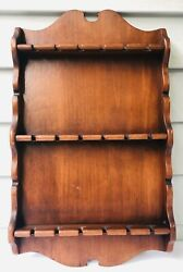 Vintage Wood Souvenir Collectible Spoon Holder Wall Rack For 18 Spoons 18 X11