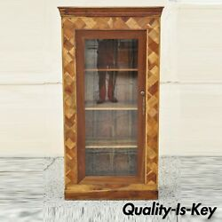 Marquetry Geometric Inlay Mixed Wood One Drawer Bookcase Display Cabinet Curio