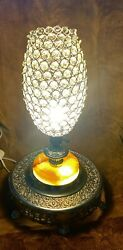 Rare Custom Antique French Art Deco Crystal Glass Shade Lamp Nickel And Onyx Stone