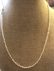 Vintage Rice Pearl Necklace 14k Clasp 18 Length