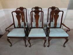 Baker Mahogany Queen Anne Dining Chairs Set Of 6 Blue Upholstery