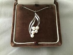 Rare Vintage Mikimoto Sterling And Pearl Necklace W/ Org. Box