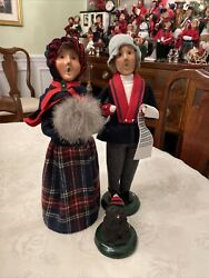 Lot Of 3 Byers Choice Carolers Man Woman And Dog