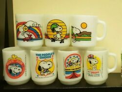 7 Vtg Fire King Anchor Hocking Snoopy Milk Glass Mugs Collectable