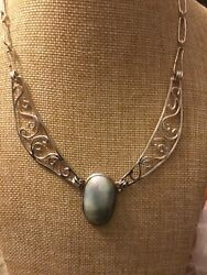 Vintage Sterling Silver Mabe Pearl Choker Necklace Hook Clasp