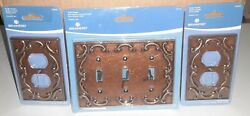 Antique Copper Scroll Lot Triple Toggle And Single Light Switch Wallplate Covers.