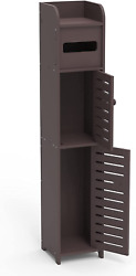 Small Bathroom Storage Cabinet With 2 Doors And 2 Shelves, W6 X D6 X H31 Brown