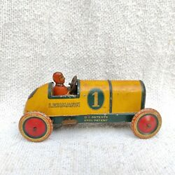 Antique Lehmann Galop 760 Mechanical Litho Tin Racing Car Toy Germany Old Rare