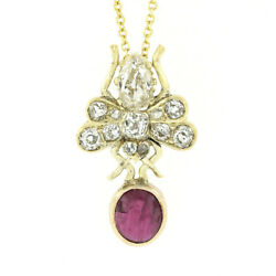 Antique Victorien 14k Or 2.60ctw Gia Ovale Rubis And Vieux Diamant Taille
