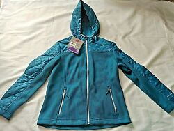 Nwt Free Country Size S Cable Knit Fleece Antique Teal Hooded Jacket