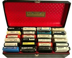 24 Vintage Eight Track Tapes Including Case - Various Artists Rock And Others
