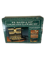 Wm. Rogers And Son Gold-plated 63 Pc Flatware Set -new In Orginal Box/wrappings-