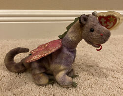 Retired Ty Beanie Baby Scorch The Dragon 1998 Rare Iridescent Wings