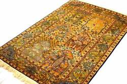 Hand Knotted Silk On Cotton Rug 5x3 Sq.ft Size Hunting Design