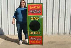 Large Coca Cola 5c Gas Price To-day Station Soda Pop 52 Porcelain Metal Sign