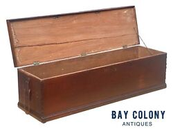 18th C Antique Walnut Nautical Canted Sea Chest / Rifle Box Munitions Chest