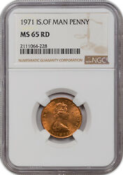 1971 Isle Of Man 1 New Penny Ms 64 Rd Ngc Certified Coin Only 5 Graded Higher