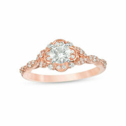 0.75ct Natural Diamond Clover Tri-sides Engagement Ring In Solid 10k Rose Gold