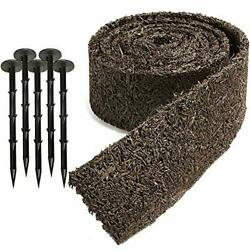 """Black Rubber Mulch Border for Landscaping 120"""" x 4.5"""" Roll Natural Looking Pe..."""