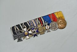 Wwi German 1914 Iron Cross 7-place Parade Mounted Medal Bar W/3 Orders