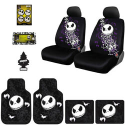 For Jeep Jack Skellington Car Truck Suv Seat Covers Floor Mats Gift Set