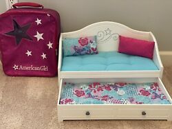 American Girl Trundle Bed And Bedding Day Bed White, With Included Doll Carrier