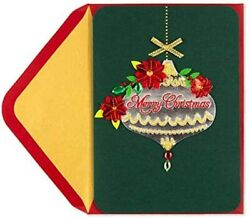Papyrus Gemmed Poinsettias Teardrop Ornament Christmas Holiday Greeting Card