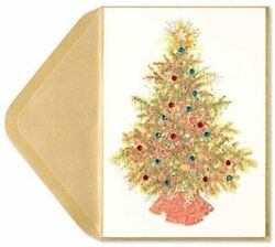 Papyrus Christmas Greeting Card Gemmed Gold Tinsel Tree