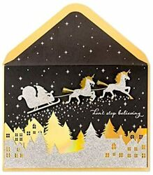 Papyrus Glitter Unicorns Christmas Holiday Greeting Card Donand039t Stop Believing