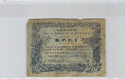 Guadeloupe Cheque 1 Francs 190- N°090640 Pick 20c Rare