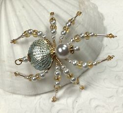 White N Gold Cloisonnandeacute Shell Beaded Christmas Spider Sue Deyoung Designs