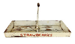 Antique Primitive Wooden White Chippy Strawberry Tote Carrier Fruit Crate Basket