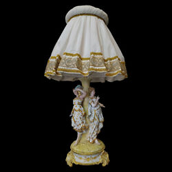 Antique Figure Porcelain Ladies Lamp The Three Thanks French Number 1421