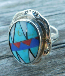 Vintage Navajo Sterling Silver Inlaid Turquoise Ring Size 9 15.1 Grams