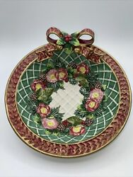 Fitz And Floyd Christmas 3d Round Bowl Red Gold Green 8andrdquo