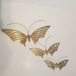 Vintage Mcm Solid Brass Butterfly Wall Hangings Decor Set Of 3