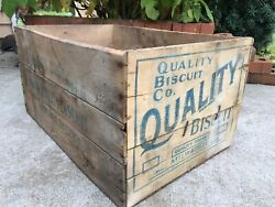 Vintage Wooden Crate Quality Biscuit Soda Cracker Milwaukee Wisconsin Wood Box