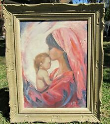 GORGEOUS 50S 60S MID CENTURY MODERN OIL PAINTING MOTHER AND CHILD SIGNED