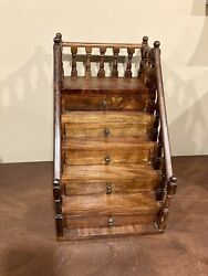 Vintage Antique Wooden Jewelry Box Staircase Design Tabletop Many Drawers