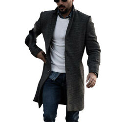 Winter Warm Mens Long Sleeve Coat Slim Fit Trench Jacket Casual Formal Outwear
