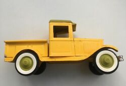 Buddy L Ford Model A Vintage Yellow - Pressed Steel Die Cast Pickup Truck