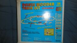 Vintage Wooden Train Set 100 Pieces With Two Trainsnever Been Played With