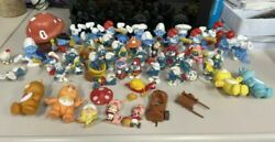 Vintage Smurfs Peyo Schleich Lot Of 65 Collectible Figures Care Bears And More