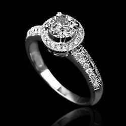 1.6 Carat Authentic Solitaire W Accents Diamond 14k White Gold Proposal Ring New