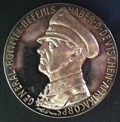 1941 Germany Silver Table Medal - Erwin Rommel Tribute - 12 Of 100 Issued