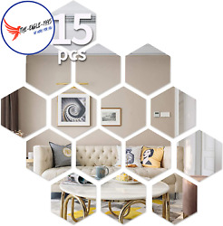 Hexagon Wall Decals Mirror Wall Stickers 15 PCS Large Removable Acrylic
