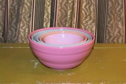 Bauer Pottery - Vintage Set Of 5 Nesting Bowls Beehive Usa Rare Colors