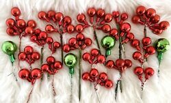 Vtg Mercury Glass Ornament Sprays Pick Cluster Foil Wood Wire Red Green Lot 65+