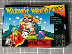 Wario's Woods Snes Super Nintendo Entertainment System 1994 Tested W/box, Manual